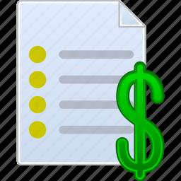 check, cheque, contract, invoice, price list, prices, quote icon