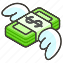 1f4b8, money, wings, with icon