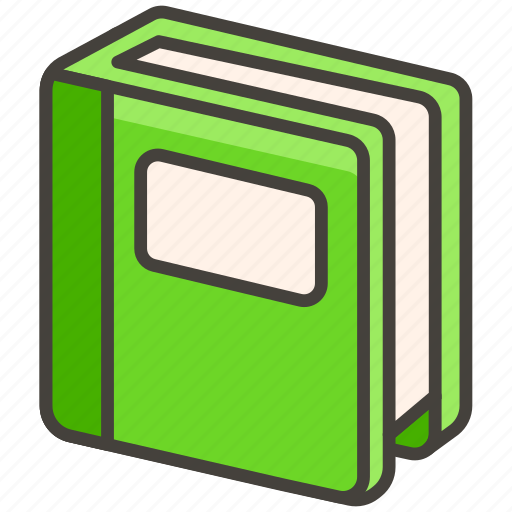 1f4d7, book, green icon