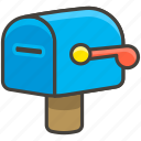 1f4ea, closed, flag, lowered, mailbox, with icon