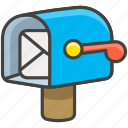 1f4ed, flag, lowered, mailbox, open, with icon