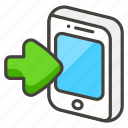 1f4f2, a, arrow, mobile, phone, with icon
