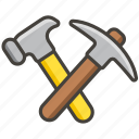 and, hammer, pick icon