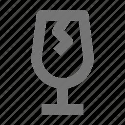 broken, chipped, damage, glass, wine icon