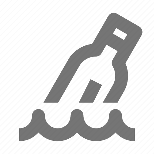 bottle, message, sea, send, text, water, wave icon