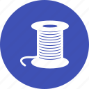 blue, bobbin, needle, sewing, spool, thread, threads icon