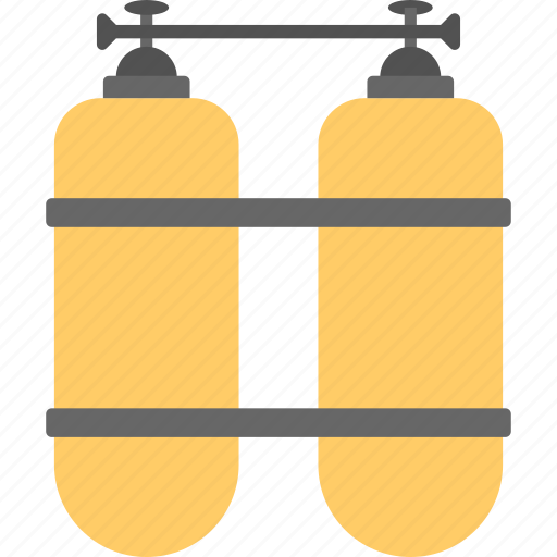 diver cylinders, diving cylinders, oxygen tanks, scuba equipment, scuba tanks icon