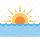 beach sunset, ocean sunset, sea sunset, sun sea, sunrise sea icon
