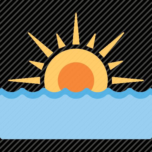 beach sunset, ocean sunset, sea sunset, sun sea, sunrise sea icon