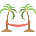 hammock, hammock on beach, palm trees hammock, relaxation, tropical beach icon