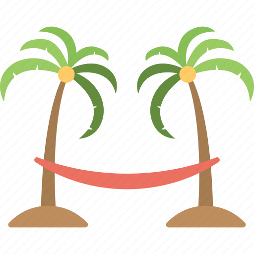 Hammock On Beach Palm Trees Relaxation Tropical Icon