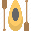boat, canoe, canoe with oars, kayak, narrow vessel icon