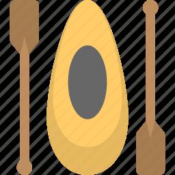 boat, canoe, canoe with oars, kayak, narrow vessel icon