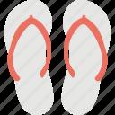 beach sandal, beach slipper, flip flops, slippers, thongs slippers icon