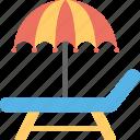 beach, beach umbrella, deck chair, sun tanning, sunbathe icon