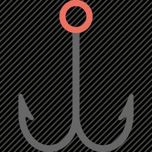 double bait, double fishing hook, fish hook, fisherman equipment, fishing hook icon