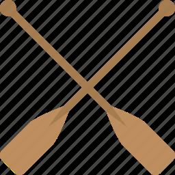 crossed oars, oars, shipping, shipping paddles, wooden oars icon
