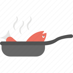 fish frying, fried fish, seafood, skillet pan, steamed fish icon