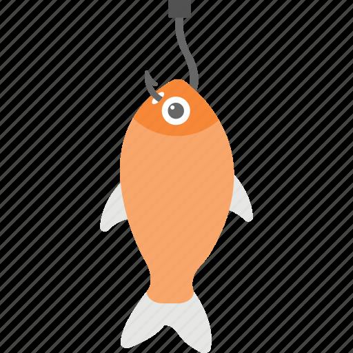 caught fish, fish and hook, fishery, fishing, fishing hook icon