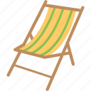 beach chair, camp chair, chair, deck chair, easy chair icon
