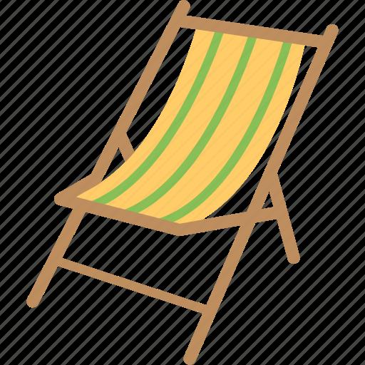beach chair, camp chair, chair, deck chair, easy chair icon