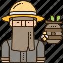 apiary, beekeeper, hive, honeycomb, uniform icon