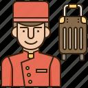 bellboy, bellhop, hotel, service, uniform icon