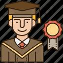graduate, graduation, student, uniform, university icon
