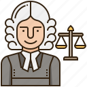 attorney, judge, justice, law, lawyer icon