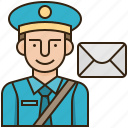 deliveryman, mail, mailman, post, postman icon