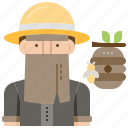 apiary, beekeeper, hive, honeycomb, uniform icon