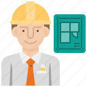 architecture, construction, engineer, engineering, uniform icon