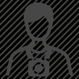 cameraman, journalist, photographer, photography, tourist, traveler, vocation icon