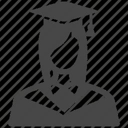 avatar, college student, education, female, graduated, university, woman icon