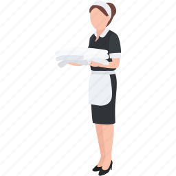 cleaner, cleaning, domestic, hotel, housekeeper, lady, maid icon
