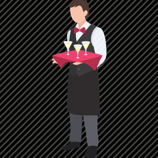bartender, butler, cocktail, drinks, server, service, waiter icon