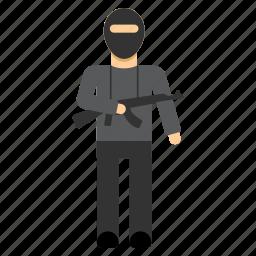 bandit, gangster, guard, soldier, terrorist, thief, warrior icon