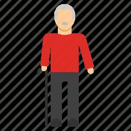 grandfather, lame, old, retire, retired, retirement icon