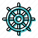 marine, ocean, sea, ship, steering wheel icon