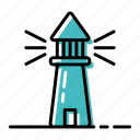 boat, lighthouse, marine, ocean, sea, ship icon