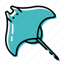 fish, marine, ocean, sea, stingray icon