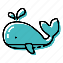 fish, marine, ocean, sea, whale icon
