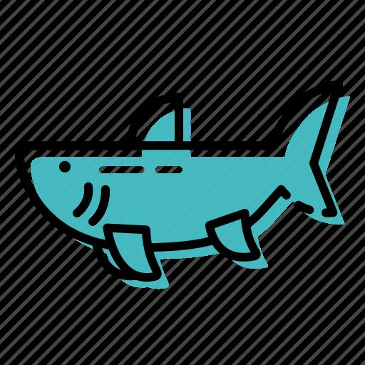 fish, marine, ocean, sea, shark icon