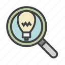 bulb, business, idea, light, magnifying glass, recruiting, search icon