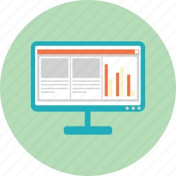 chart, computer, file, monitor, pc, presentation, work icon