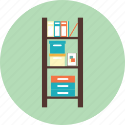 book, bookshelf, education, file, furniture, interior icon
