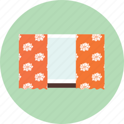 curtain, flower, glass, interior, window icon