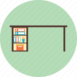 book, desk, drawer, education, pencil, school icon
