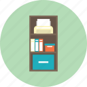 book, bookshelf, education, file, furniture, interior, printer icon