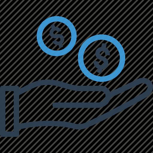 banking, coin, dollar, finance, hand, loan, money icon
